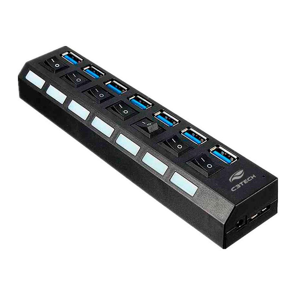 Hub USB C3Tech, 7 Portas USB 3.0, com Chave Seletora - HU-S370BK