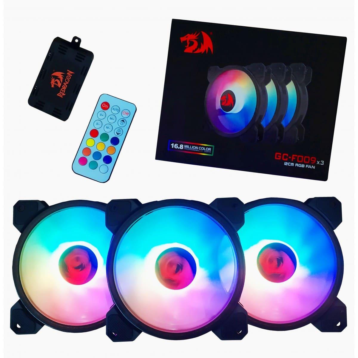 Kit fan com 3 unidades Redragon, RGB, 120mm, com Controladora - F009