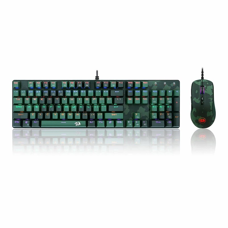Kit Gamer Redragon S108 Light Green - Teclado Mecânico, Rainbow, Switch Outemu Blue, ANSI + Mouse RGB Camuflado - S108 PT-DARK GREEN