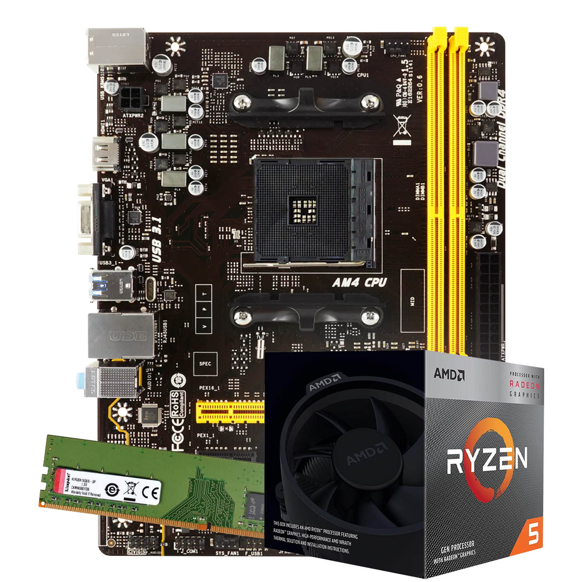 Kit Upgrade AMD Ryzen 5 3400G 3.7Ghz, Placa Mãe Biostar A320MH DDR4, 8GB DDR4