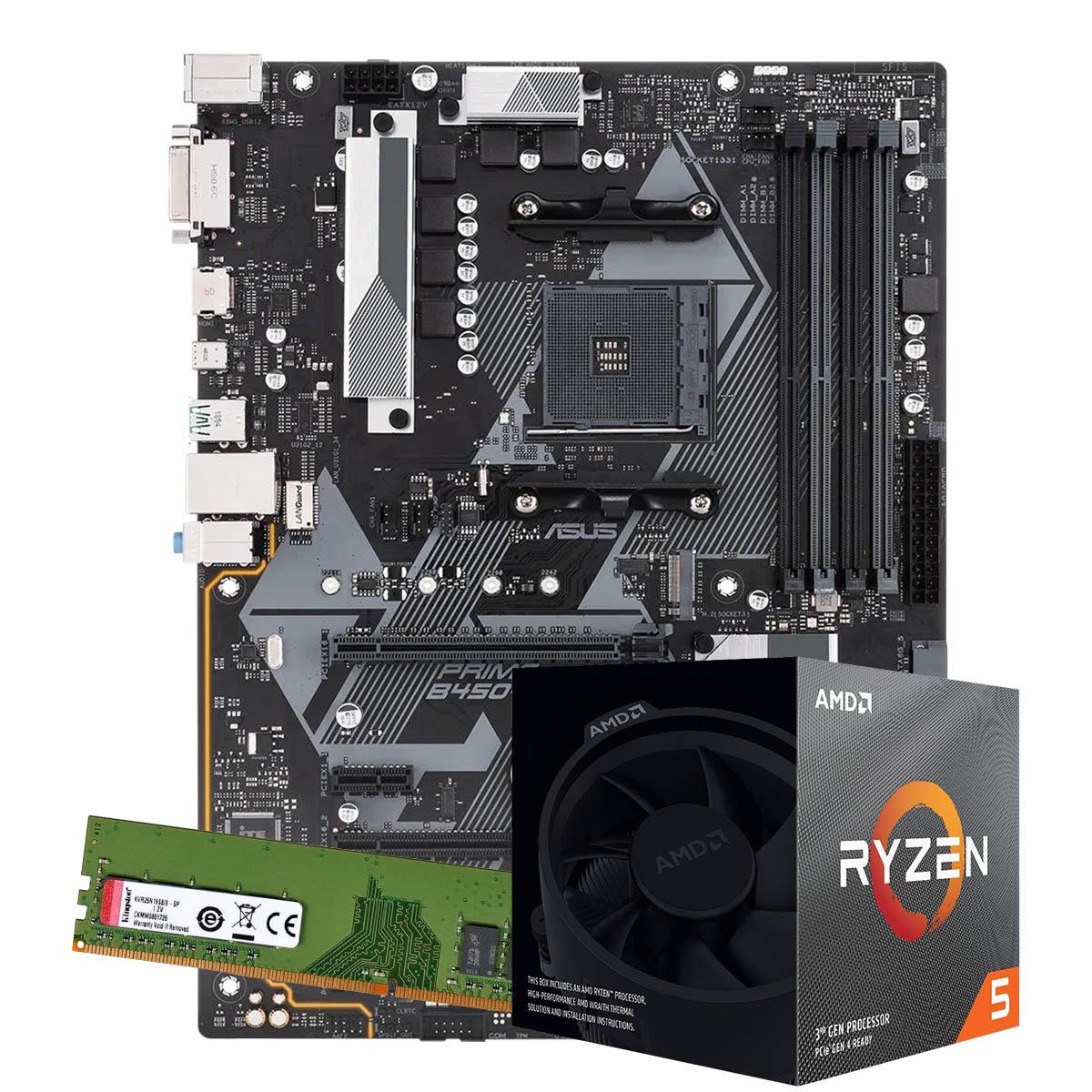 Kit Upgrade AMD Ryzen 5 3600 3.6Ghz, Placa Mãe Gigabyte B450M DS3H, 8GB DDR4