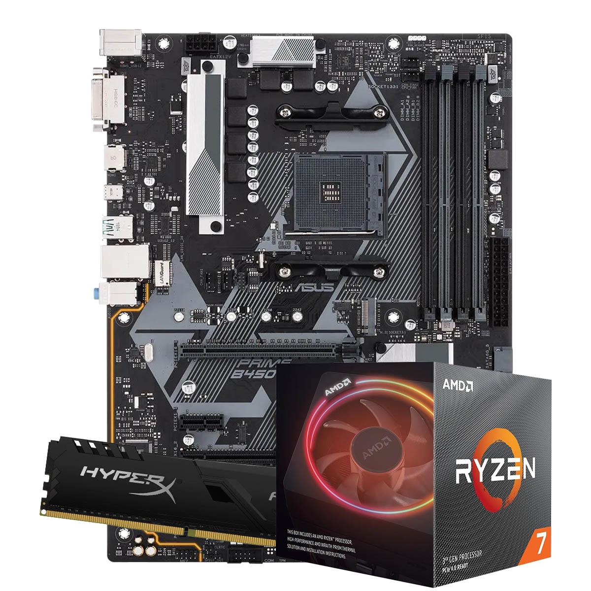 Kit Upgrade AMD Ryzen 7 3700X 3.6Ghz, Placa Mãe Gigabyte B450M S2H, Memoria 16GB DDR4