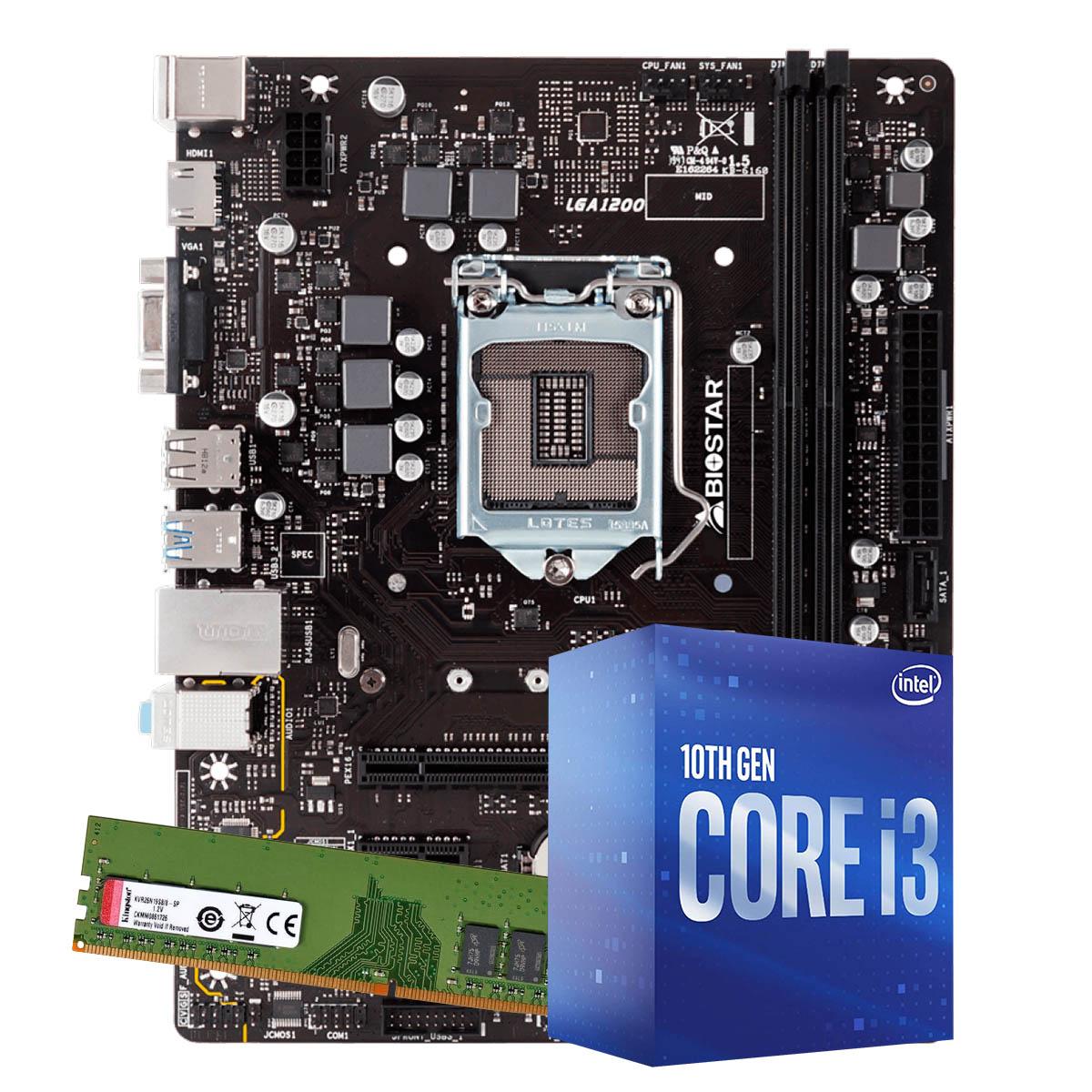 Kit Upgrade intel 10º geração core i3-10100 3.6ghz ,Placa Mãe Biostar H410MH LGA 1200, Memória Kingston DDR4 8GB