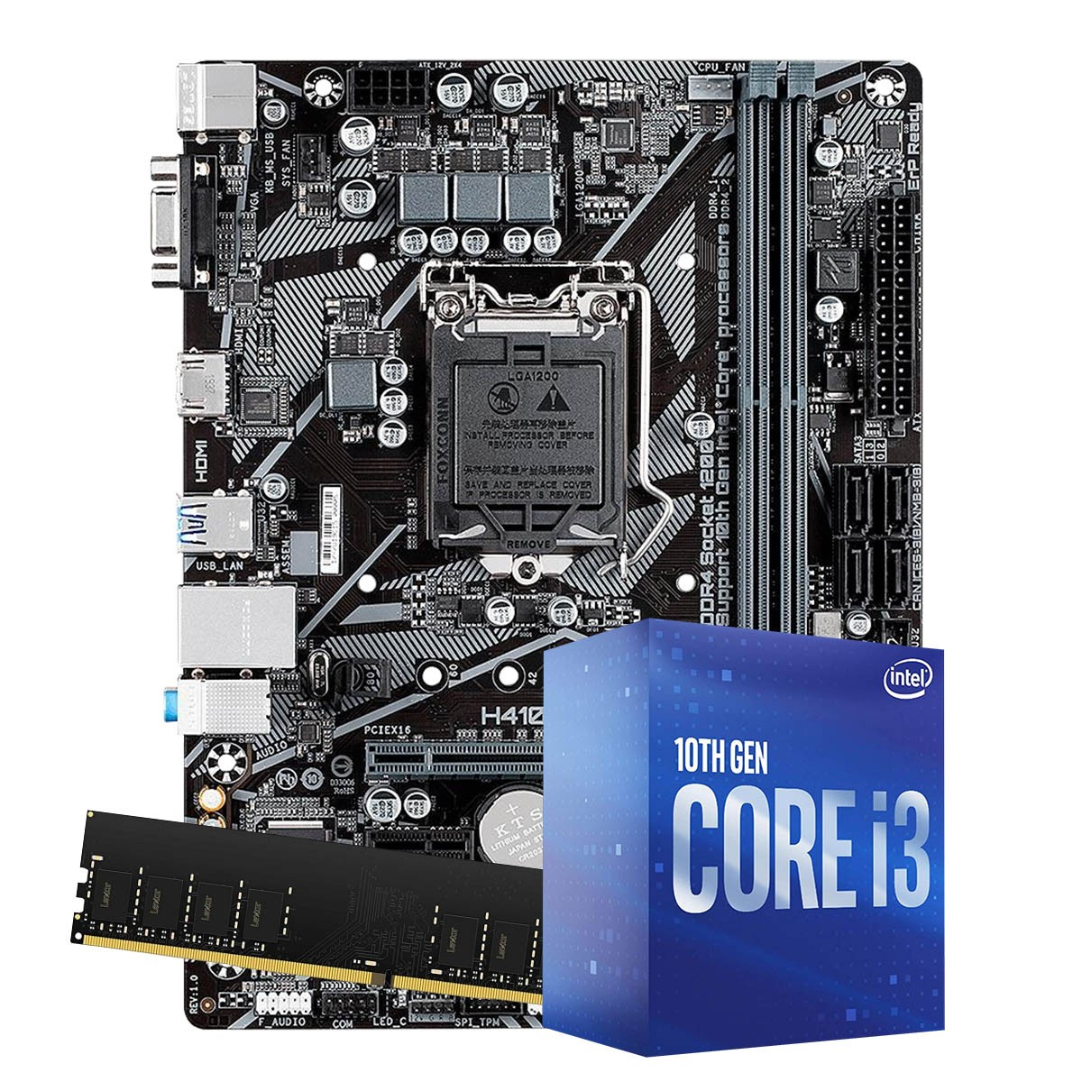 Kit Upgrade intel 10º geração Core i3-10100 3.6ghz ,Placa Mãe Pcware H410 LGA 1200, 4GB DDR4