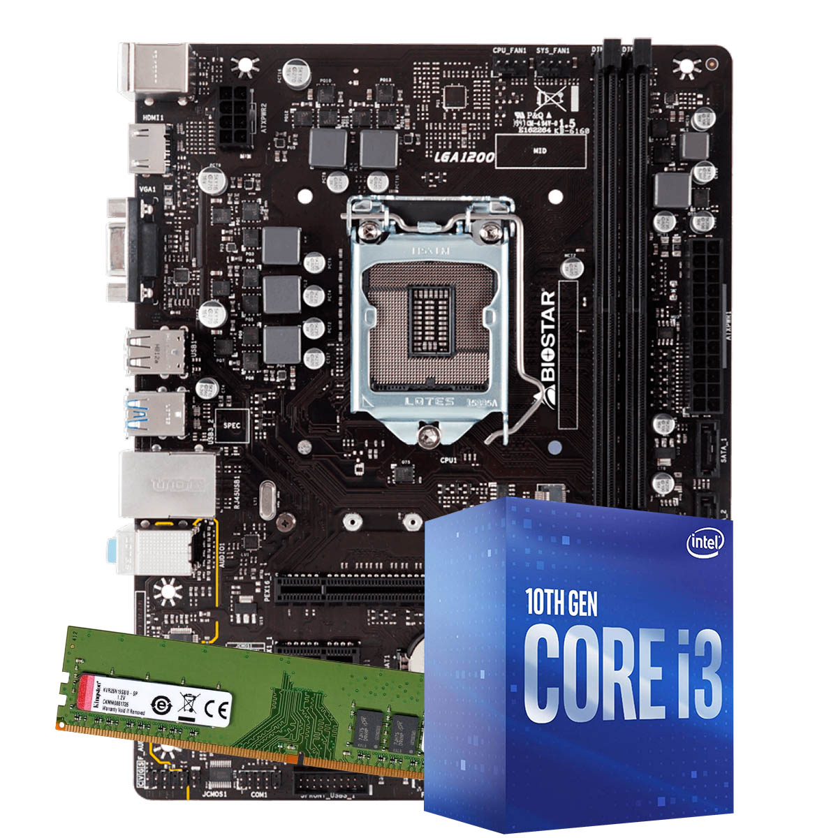 Kit Upgrade intel 10º geração Core i3-10100 3.6ghz ,Placa Mãe Gigabyte H410M H LGA 1200, 4GB DDR4