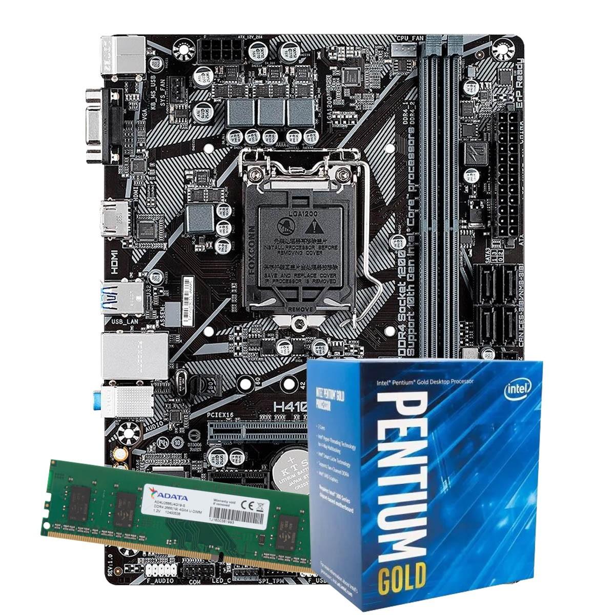 Kit Upgrade intel 10º geração Pentium Gold G6400 4.0ghz ,Placa Mãe Pcware H410 LGA 1200, 4GB DDR4