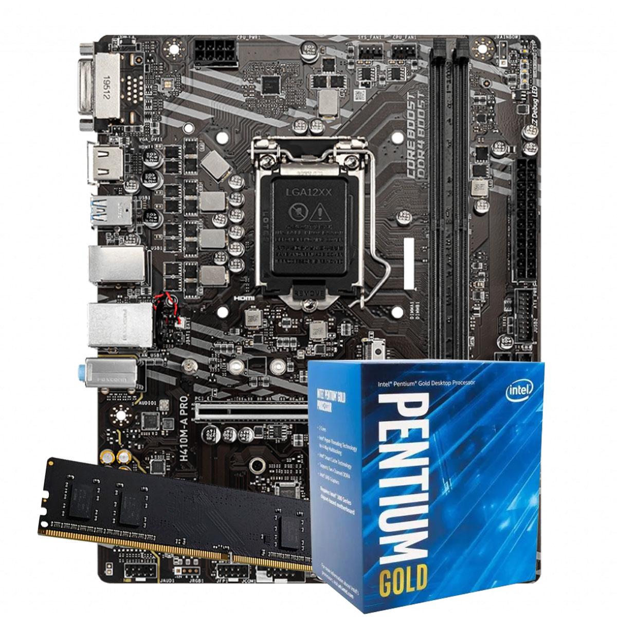 Kit Upgrade intel 10º geração Pentium Gold G6400 4.0ghz ,Placa Mãe H410 LGA 1200, 4GB DDR4