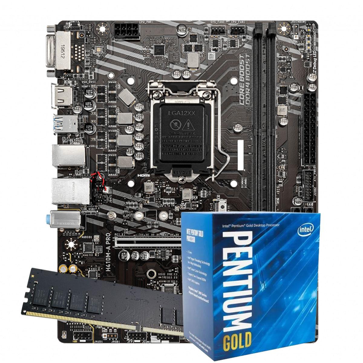 Kit Upgrade intel 10º geração Pentium Gold G6400 4.0ghz ,Placa Mãe H410 LGA 1200, 8GB DDR4