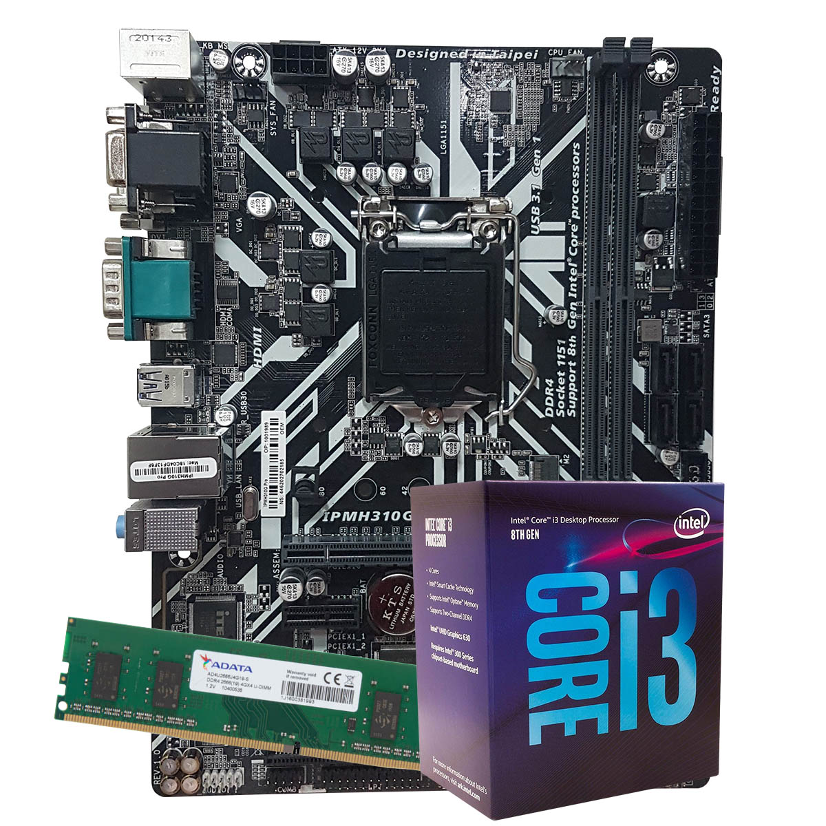 Kit Upgrade intel Corei3-9100 3.6Ghz, Placa Mãe Pcware IPMH310G LGA 1151,  8GB DDR4