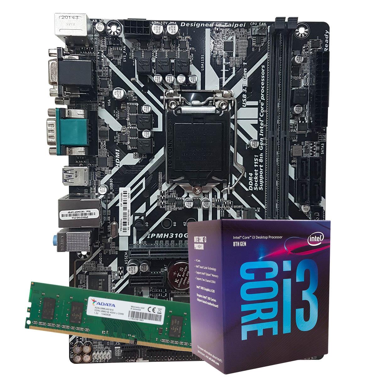 Kit Upgrade intel Corei3-8100 3.6Ghz, Placa Mãe Pcware IPMH310G PRO LGA 1151,  Memoria 4GB DDR4