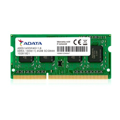 Memória Adata 1600 SO-DIMM 4GB, 1600MHz, DDR3L, p/ Notebook, CL11 - ADDS1600W4G11-S
