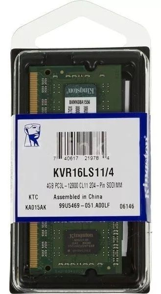 Memória Kingston 4GB, 1600MHz, DDR3,L Notebook, CL11 - KVR16LS11/4