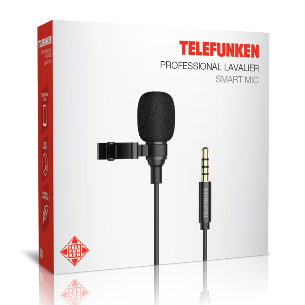 Microfone de Lapela para Smartphone Câmera e Tablet Telefunken Smart Mic