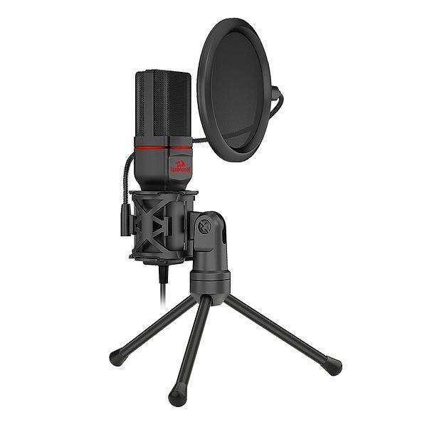 Microfone Gamer Streamer Redragon Seyfert C/ Tripé, 3.5MM, Black - GM100