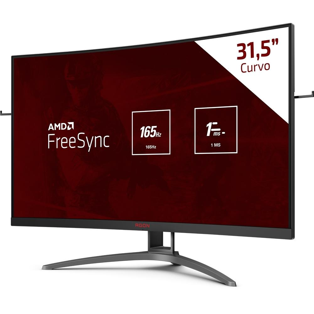 "Monitor Gamer AOC AGON W-LED 31.5"" Widescreen Curvo, FHD, HDMI, DisplayPort, FreeSync, 165Hz, 1ms - AG323FCXE"