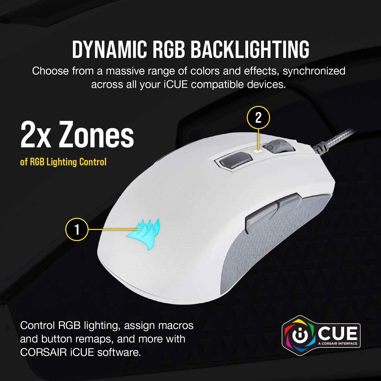 Mouse Gamer Corsair M55 RGB Pro Branco - CH-9308111-NA