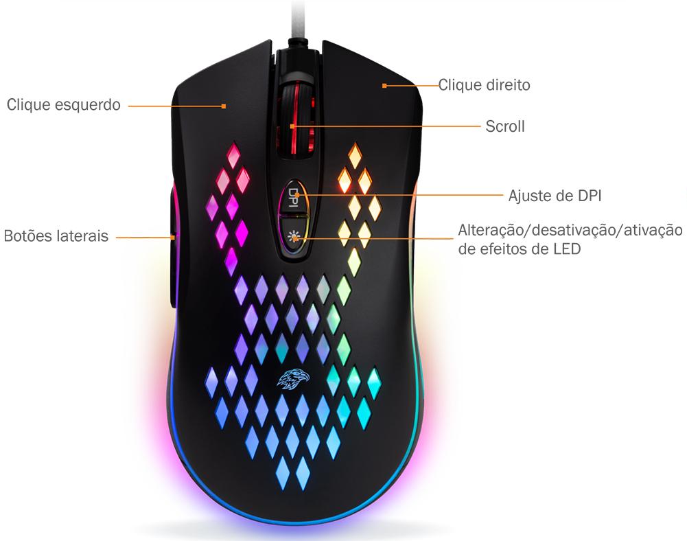 Mouse Gamer K-Mex M370, Led RGB, 7 Botões, 6400 DPI Programável - T-TGM203