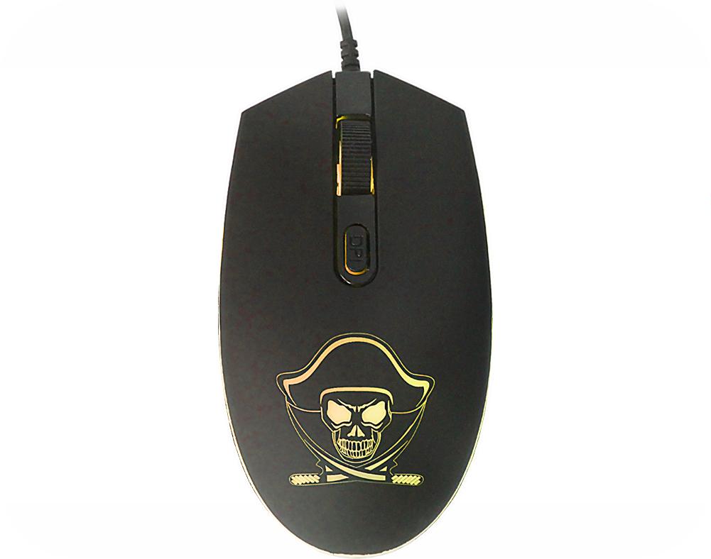 Mouse Gamer Kmex Pirata M340, 4 Led, 1200Dpi, Óptico, Preto, 3 Botões, USB