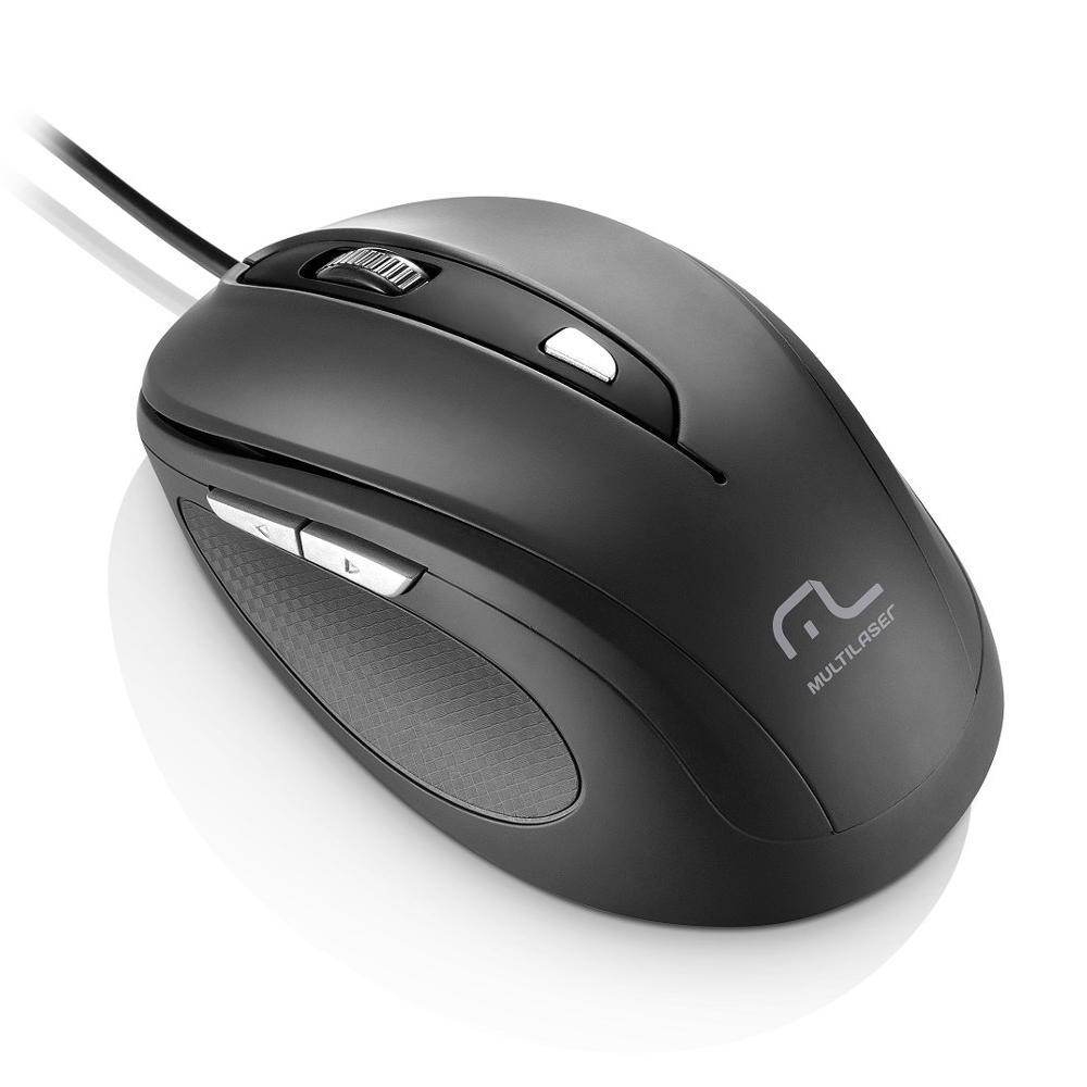 Mouse Multilaser, Com Fio, 1600Dpi, USB, 6 Botões, Preto - MO241