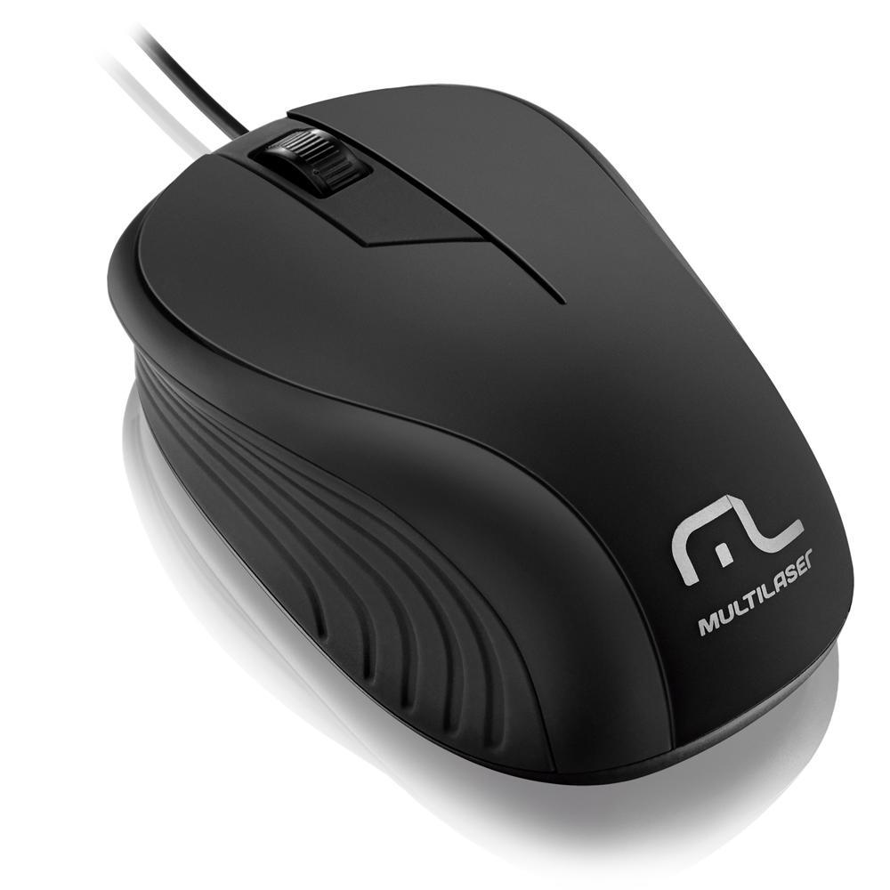 Mouse Multilaser USB Emborrachado Preto - MO222