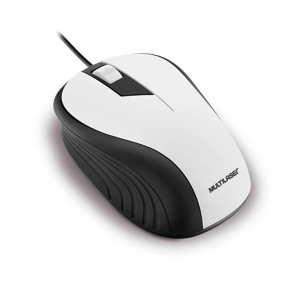 Mouse Óptico Multilaser Emborrachado Branco e Preto - MO224