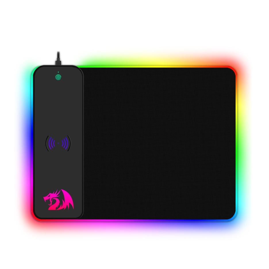 Mousepad Gamer Redragon Crater, QI Sem Fio, Médio, RGB, Black - P028