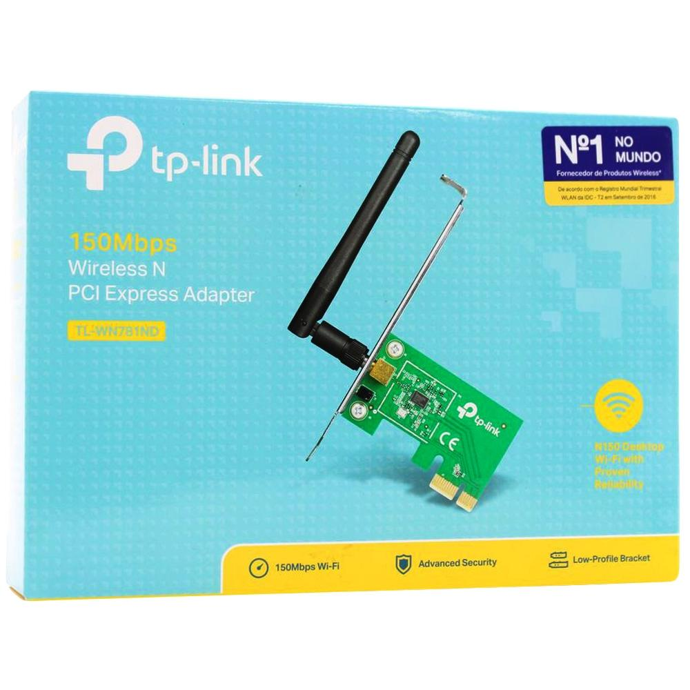 Placa de Rede TP-Link Wireless 150Mbps PCI Express - TL-WN781ND