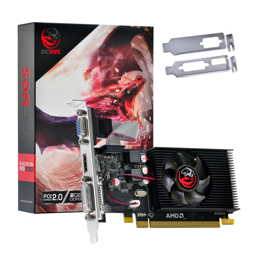 Placa de Vídeo AMD PCYes, Radeon R5 230, 2GB, DDR3, 64 Bits - PJR230RLP