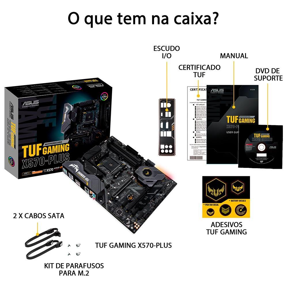 Placa Mãe Asus TUF Gaming X570-PLUS/BR, AMD AM4, ATX, DDR4