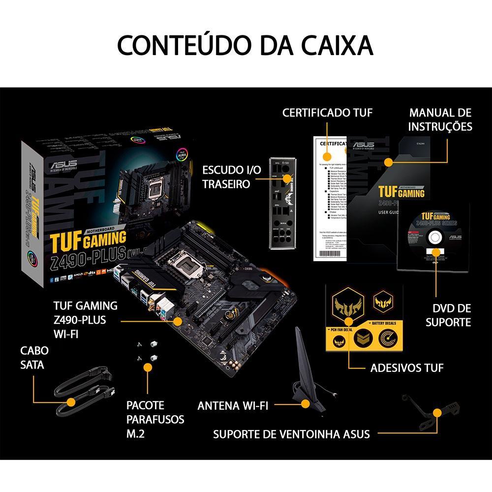 Placa Mãe Asus TUF Gaming Z490-Plus (Wi-Fi), Intel LGA 1200, ATX, DDR4