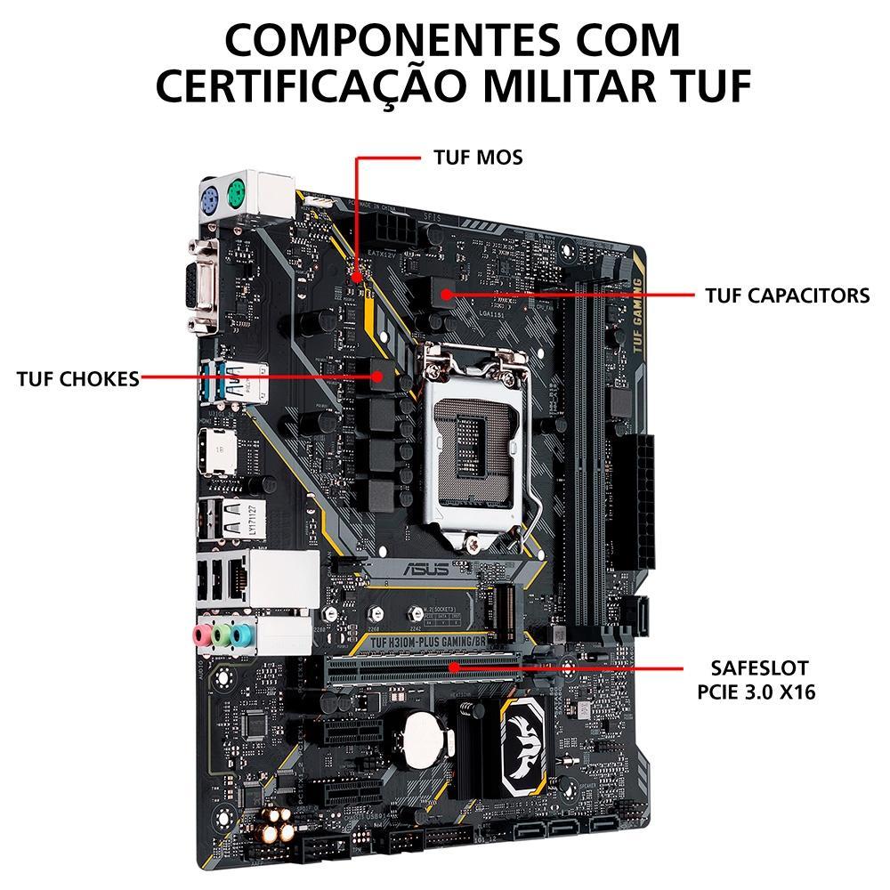 Placa Mãe Asus TUF H310M-Plus Gaming/BR, Intel LGA 1151, mATX, DDR4