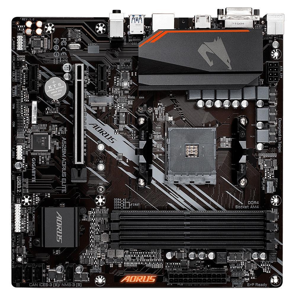 Placa Mãe Gigabyte A520M AORUS ELITE, AMD AM4, DDR4