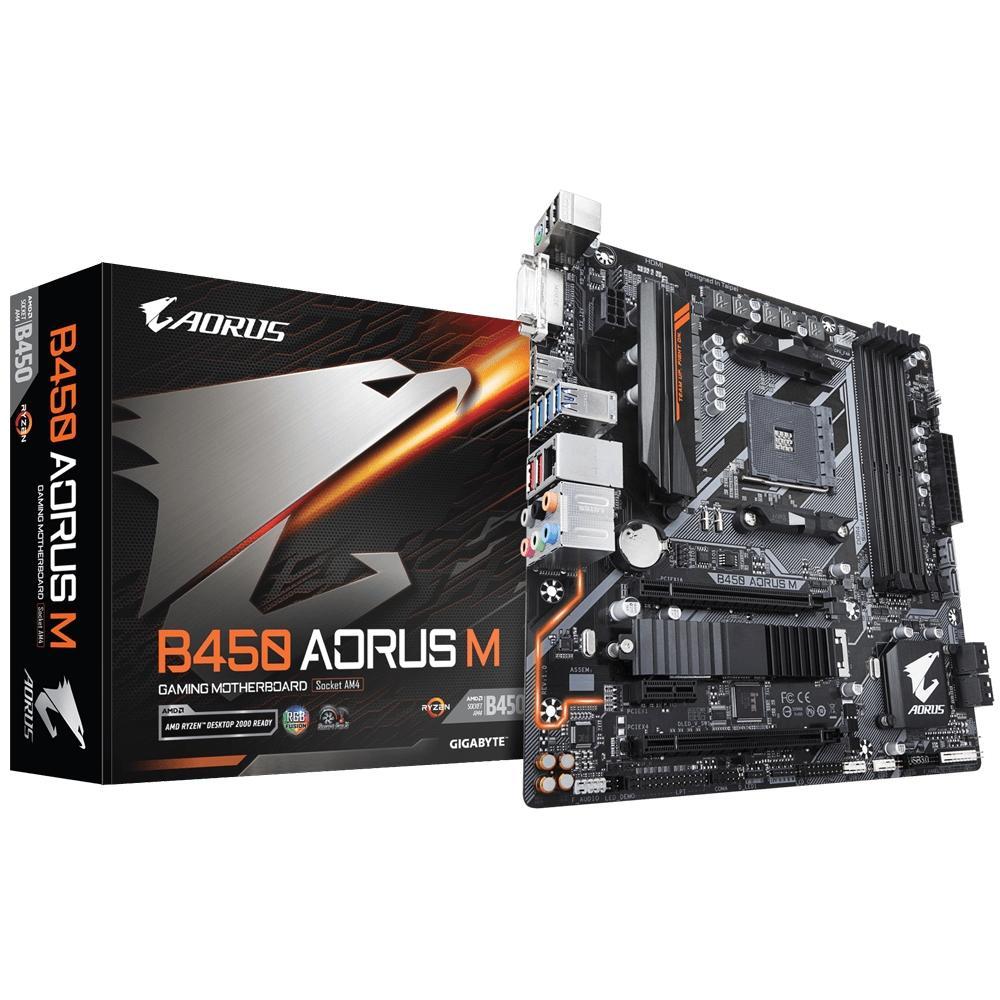 Placa Mãe Gigabyte Aorus B450 Aorus M, AMD AM4, mATX, DDR4