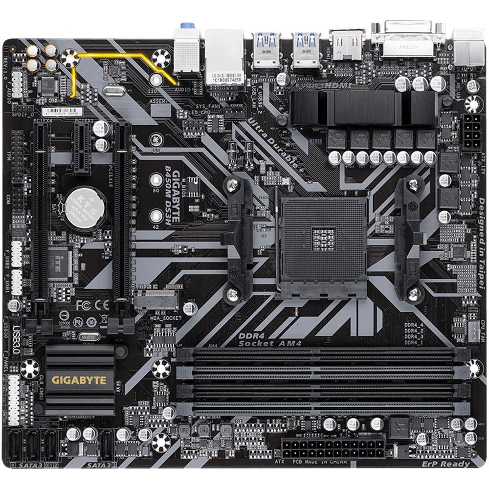 Placa Mãe Gigabyte B450M DS3H, AMD AM4, mATX, DDR4