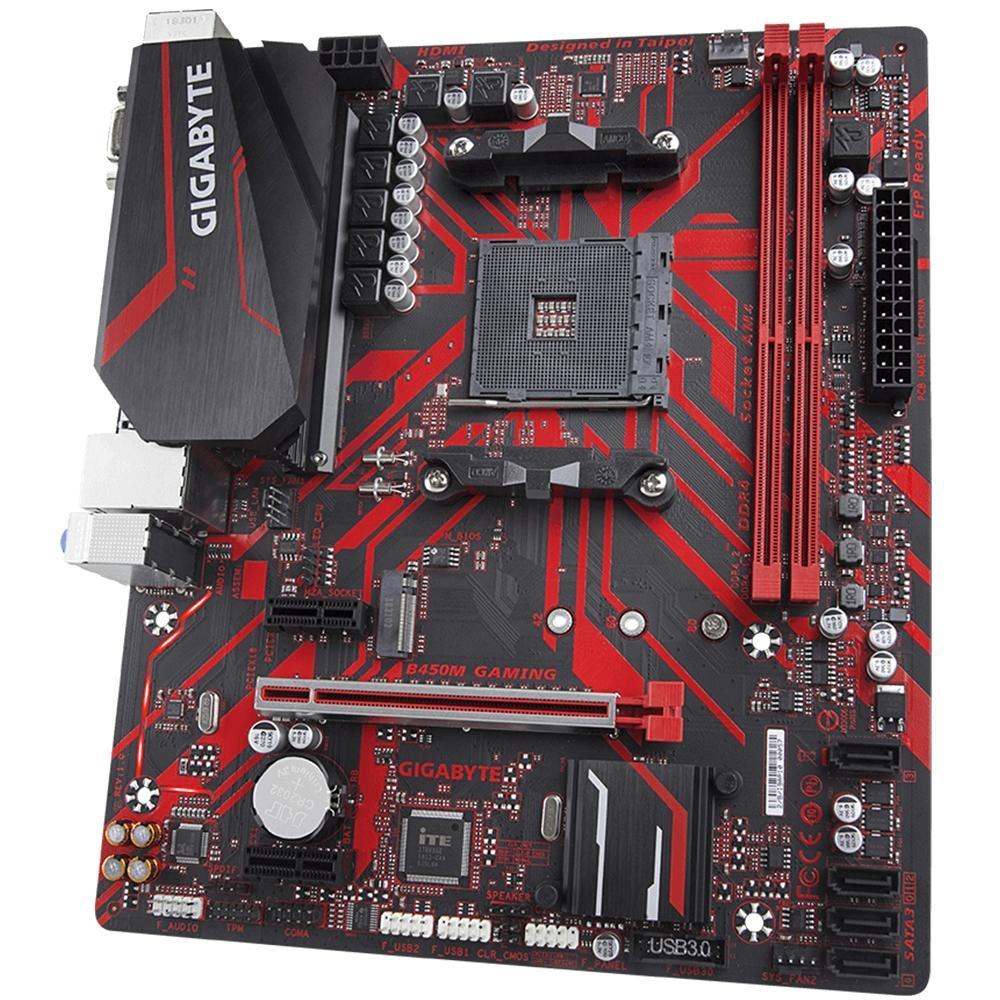 Placa Mãe Gigabyte B450M Gaming, AMD AM4, mATX, DDR4 (Rev. 1.0)