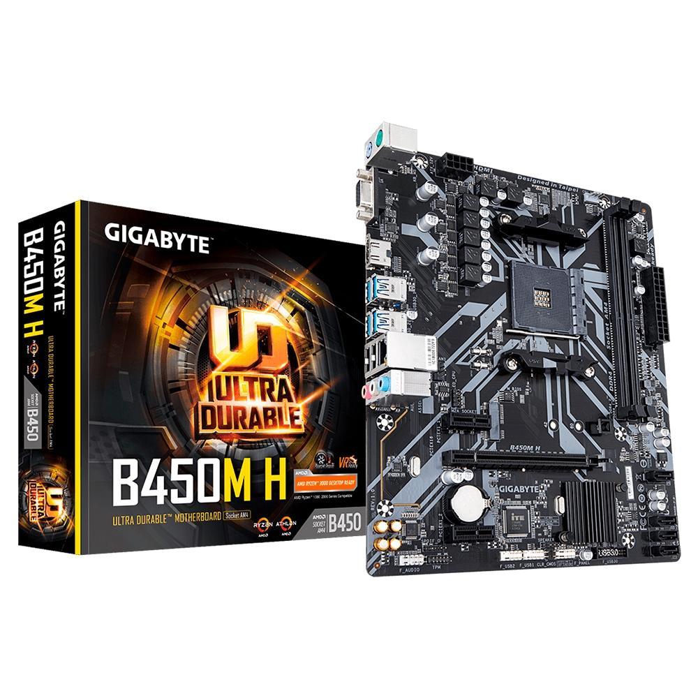 Placa Mãe Gigabyte B450M H, AMD AM4, Micro ATX, DDR4
