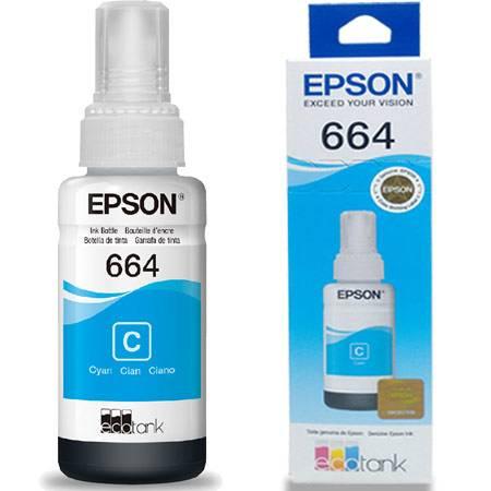 Refil Para Impressora Ecotank 664 Ciano T664420AL Epson Compatibilidade: Epson L200, L210, L355, L110, L555, L1300 PT 1 UN