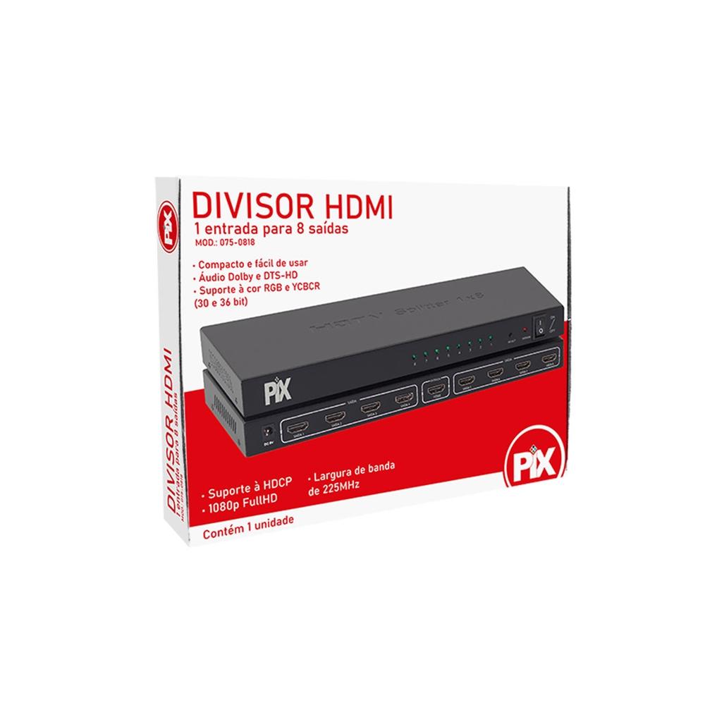 Splitter PIX HDMI, 1x8, 1080p, FullHD - 075-0818