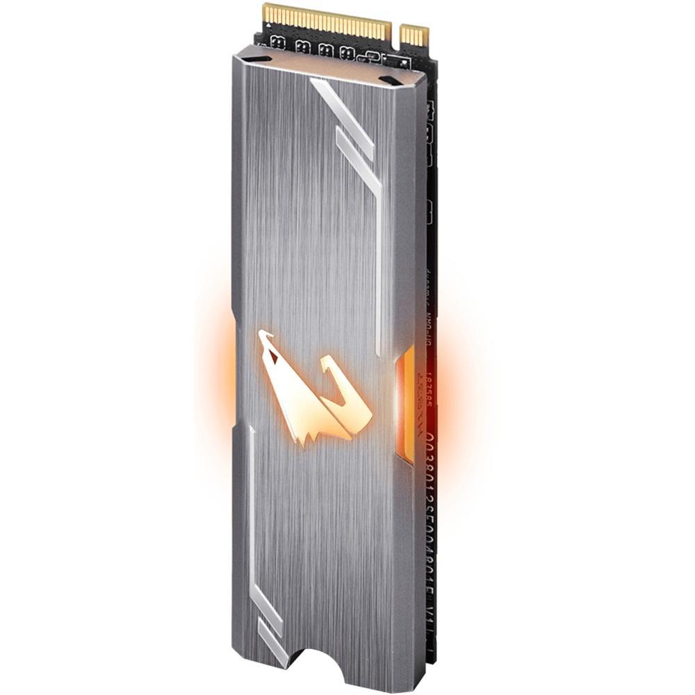 SSD Gigabyte Aorus RGB 256GB, M.2 NVMe, Leituras: 3100MB/s e Gravações: 1050MB/s - GP-ASM2NE2256GTTDR
