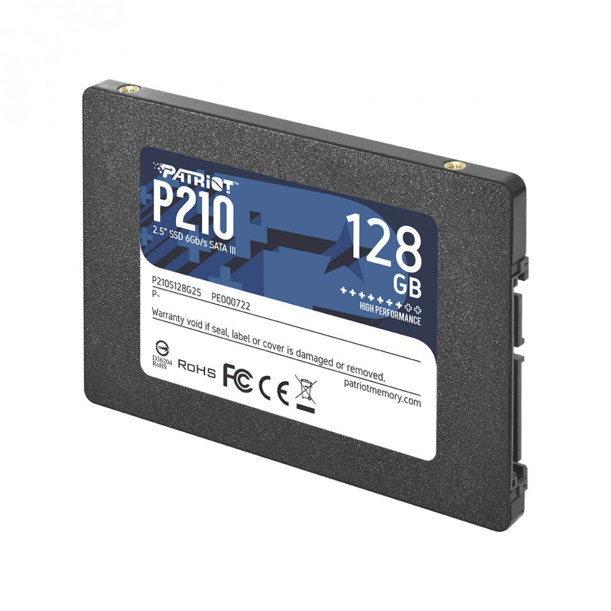 SSD Patriot P210, 128GB, Sata III, Leitura 500MB/s e Gravação 400MB/s - P210S128G25