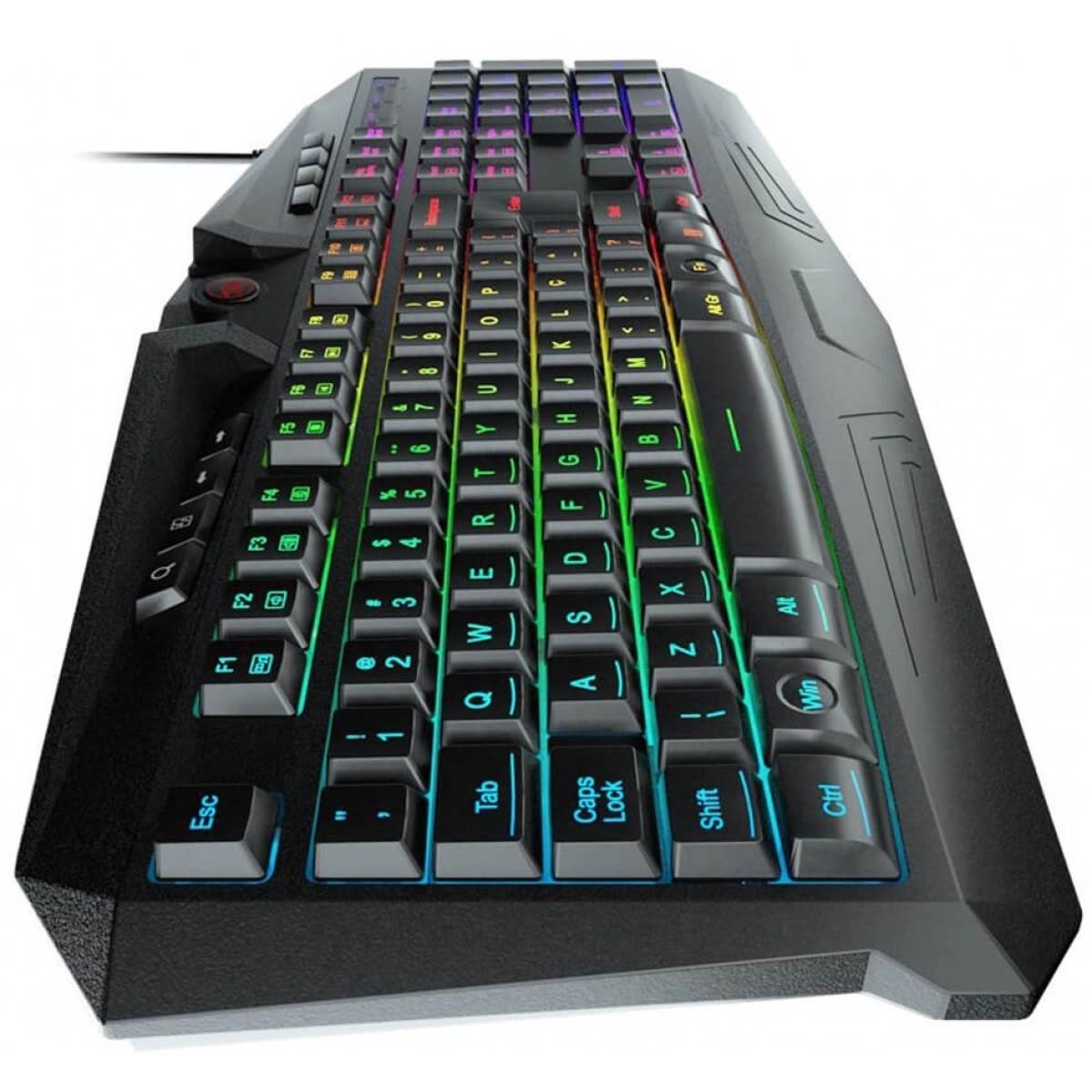 Teclado Gamer Redragon Harpe, RGB, ABNT2 - K503RGB PT