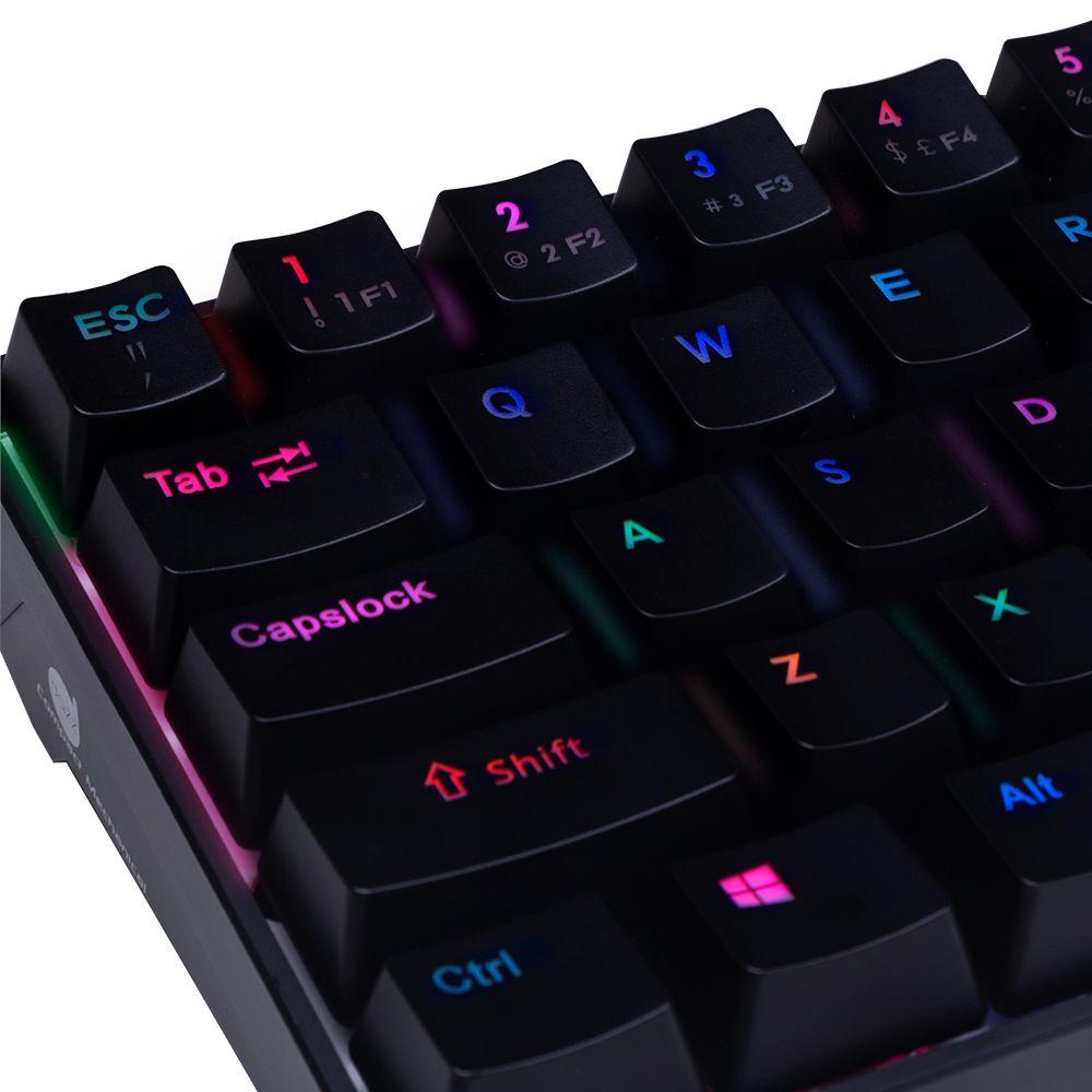 Teclado Mecânico Gamer MK 60% Dazz, 100% anti-ghosting, Rainbow RGB