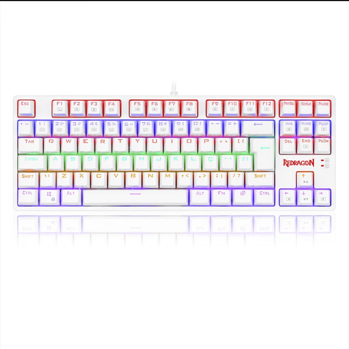 Teclado Mecânico Gamer Redragon Daksa Rainbow, Switch Red Removíveis, ABNT2, White - K576W-R PT-RED