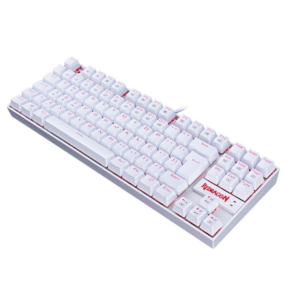 Teclado Mecânico Gamer Redragon Kumara K552W, LED, Switch Black, ABNT2, Branco - K552W-2 PT-BLACK