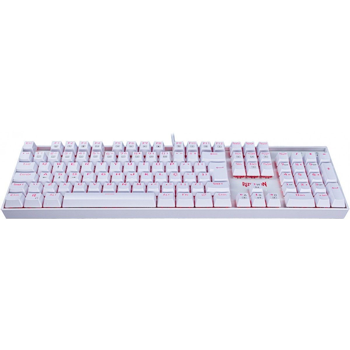 Teclado Mecânico Gamer Redragon Mitra Lunar K551W, Switch Brown, ABNT2, White