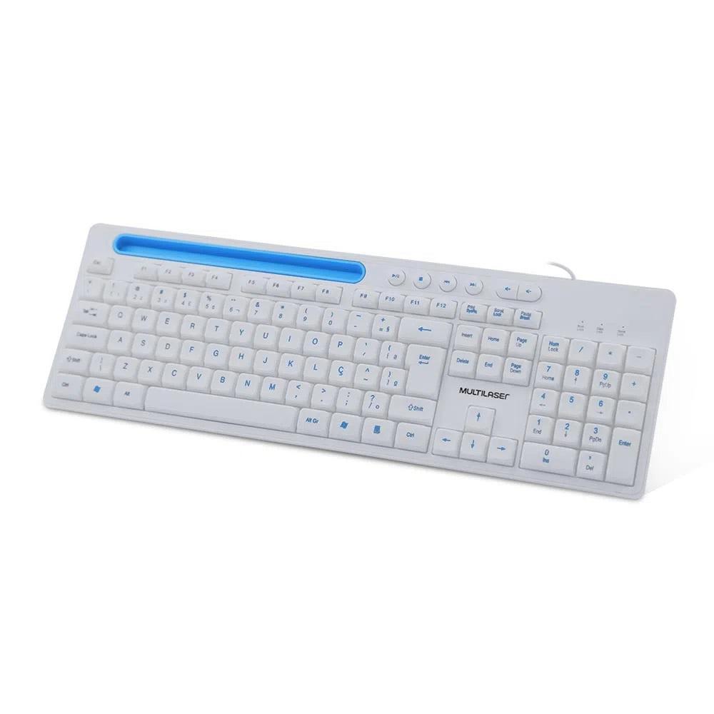 Teclado Multimidia Office Multilaser, com Apoio para Smartphone, Teclas Silencios, USB, com Fio, Branco, ABNT2 - TC263