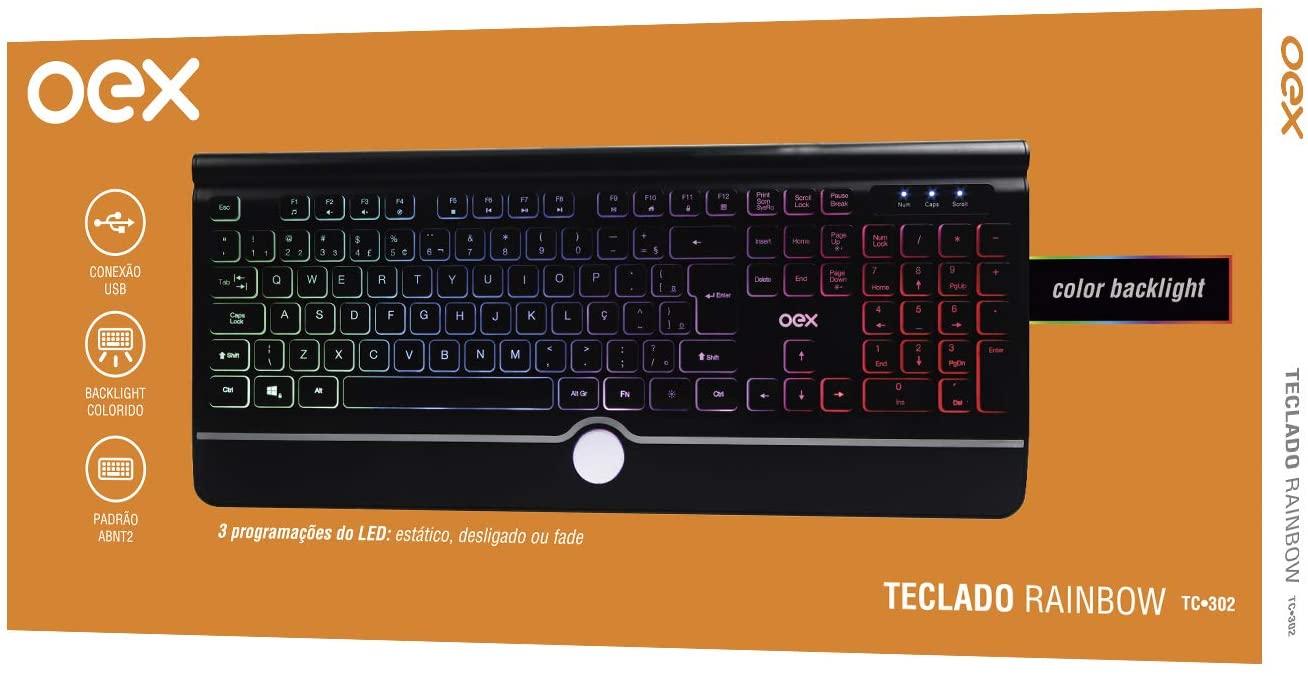 Teclado OEX Rainbow, LED, ABNT2, Preto - TC302