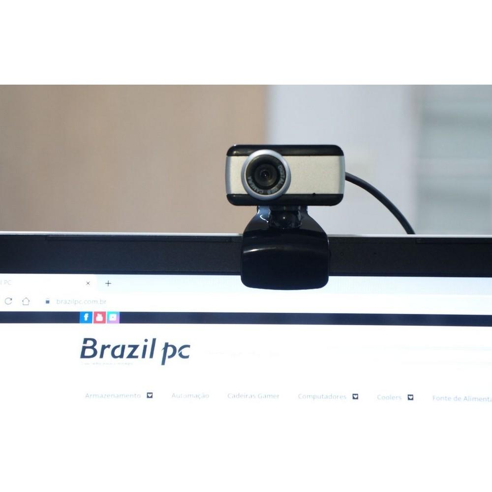 WebCam BrazilPC V4, com Microfone, Preto/Prata - 46275