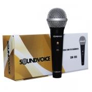 Microfone de mão SM-100 com Fio, Dinâmico, Unidirecional, Preto da Soundvoice.
