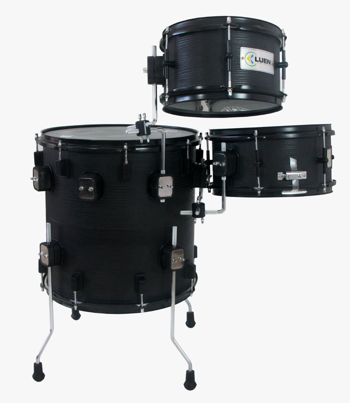 "BATERIA COMPACTA PUB THE VERTICAL DRUM OAK BLACK - COMPOSTA POR SURDO/BUMBO 16"", CAIXA 12"" E TOM 10"" PELE COATED PREMIUM  - ROOSTERMUSIC"